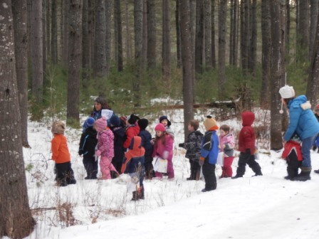 Class goes outside in winter