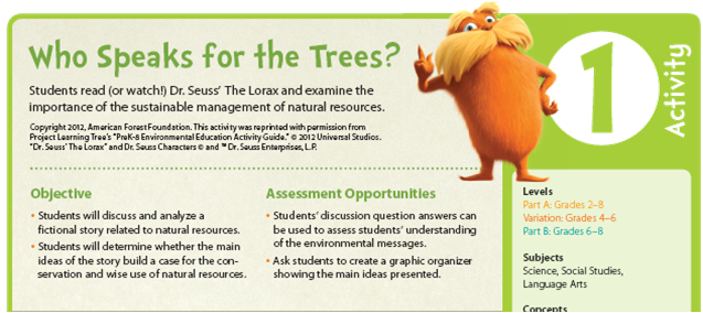 Worksheet Student Worksheet To Accompany The Lorax lesson plans to support dr seuss the lorax project learning tree who speaks for trees activity