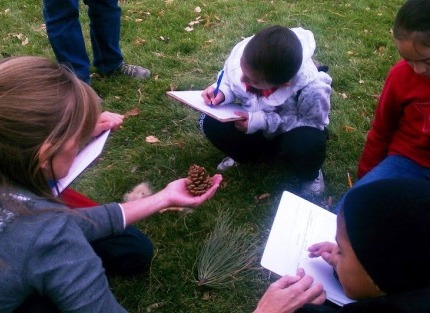 A preservice teacher from the education department at Metropolitan State University in Denver shows Colfax Elementary School students a pine cone as part of a Project Learning Tree activity, Name That Tree, in Sloan's Lake Park