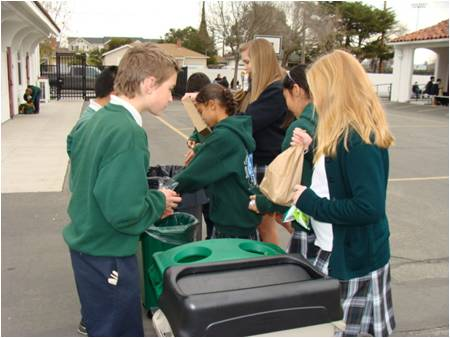 Students at St. Michael School in Livermore, California, teach other students to sort their trash into different bins