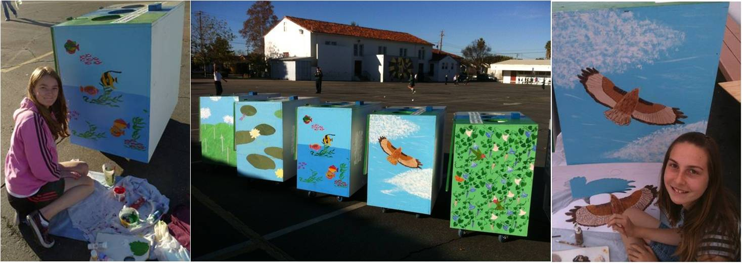 Girl Scout Troop 30157 painted the new waste stations at St Michael School in Livermore, California, for their Girl Scout Silver Award