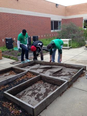 High school students improve their school's outdoor classroom