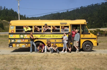 Group of students standing in front of their biodiesel bus