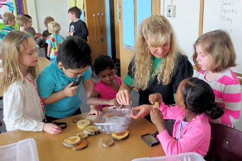 students-and-teacher-examine-tree-cookies-with-magnifying-glasses