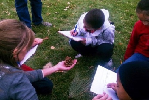 ELM-students-drawing-outside