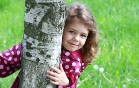 Young girl behind a tree peers around its trunk.