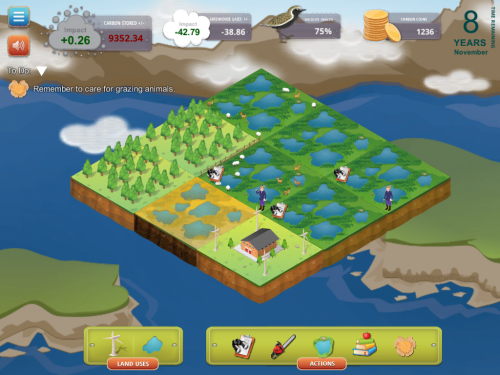 Carbon capture climate change science game for middle and high school students