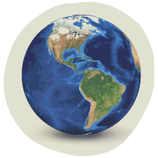 globe centered on north and south america