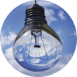 lightbulb with a cloudy blue sky in the background