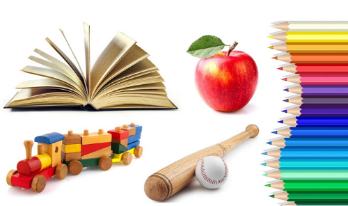 Wooden toy, apple, book, baseball bat, and colored pencils