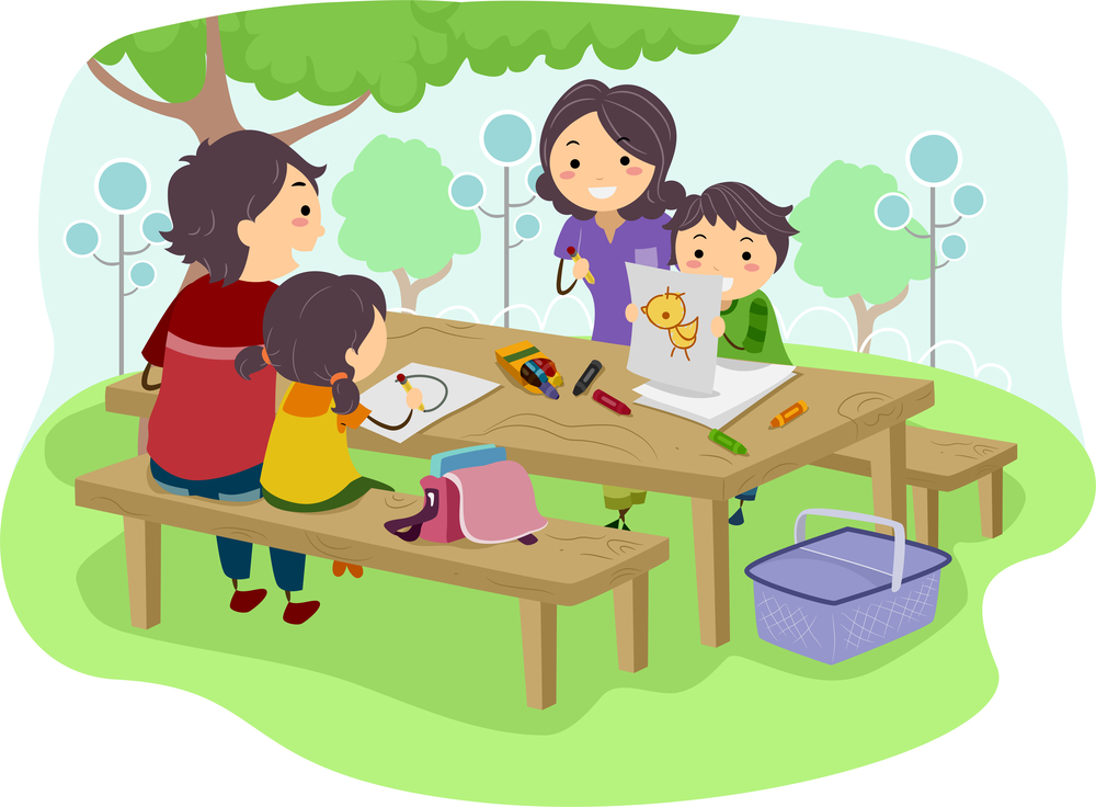 Illustration of a Family with Kids trying out a project learning tree outdoor activity