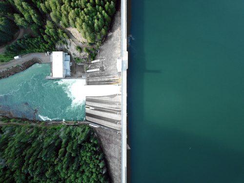 Bird's eye view of a dam