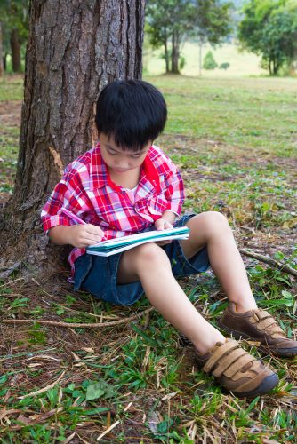 young-child-writes-in-a-notebook-beneath-a-tree