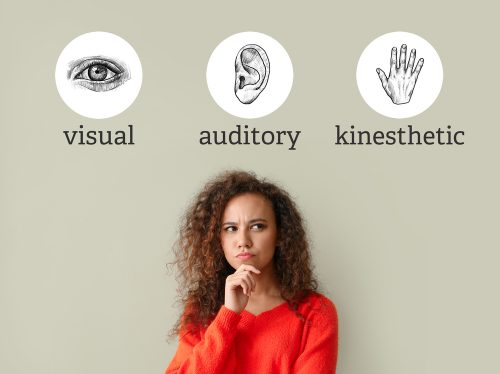 graphic-of-woman-wondering-below-visual-vs-auditory-vs-kinesthetic-learning-types