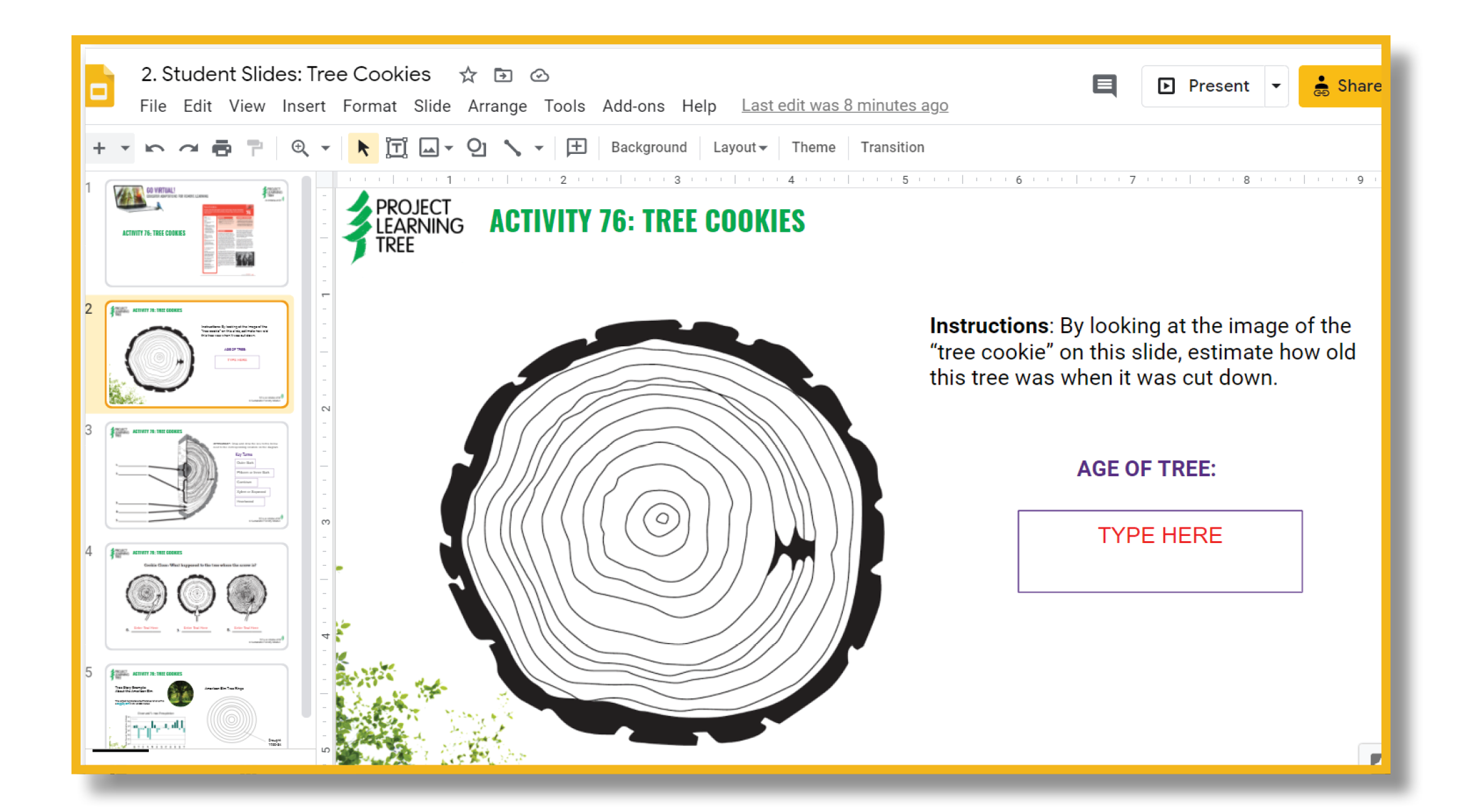 Google slide example for virtual learning