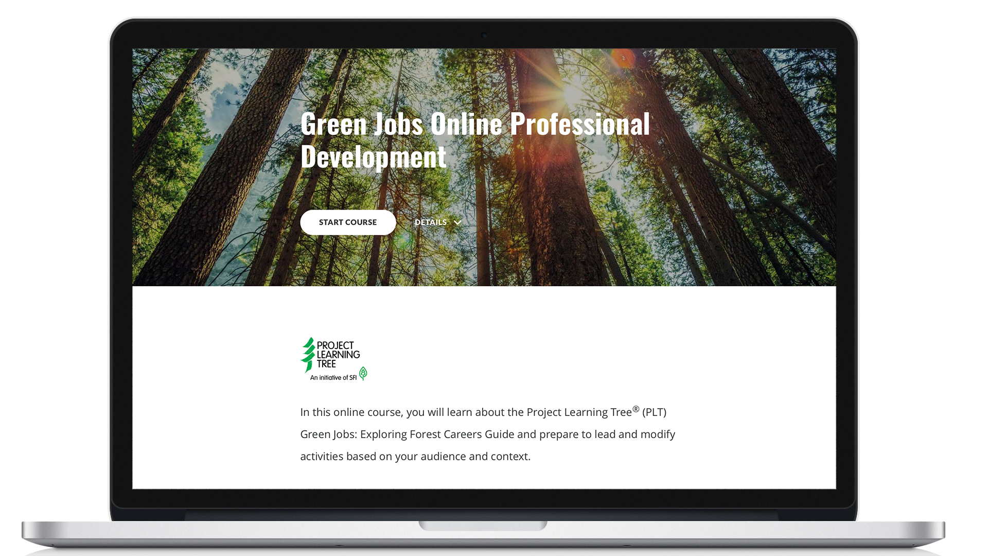 Computer-displaying-start-of-project-learning-tree-green-jobs-online-course