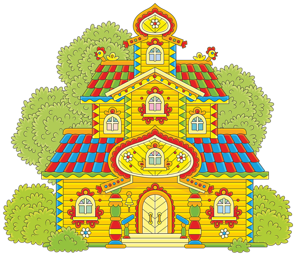 Colorful illustration of a traditional Russian house made of wood