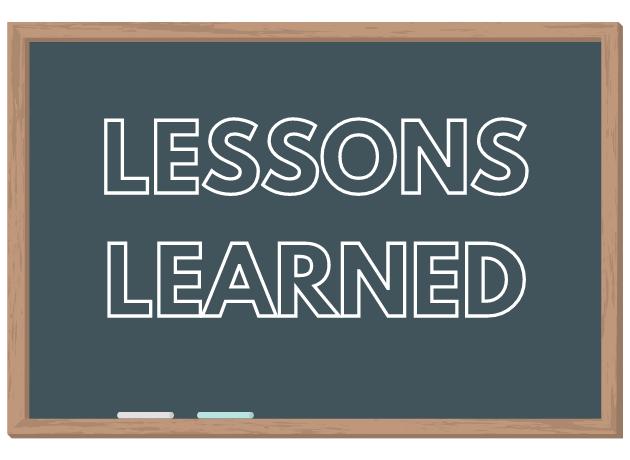 chalkboard with lessons learned written in chalk