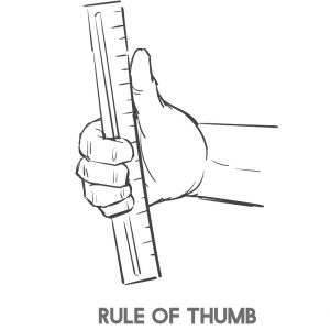 hand holding their thumb against a ruler
