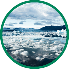 photo of floating glacier ice