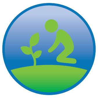 take it outside icon of a person planting a tree
