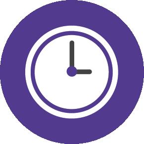 purple icon of a clock