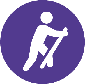 purple icon of a person hiking