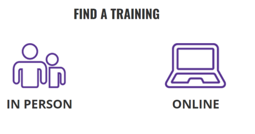find a training in person or online people icon and a laptop icon