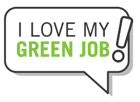 bubble graphic with i love my green job in text