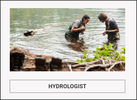 two young people wade in a river with hydrologist written below the photo