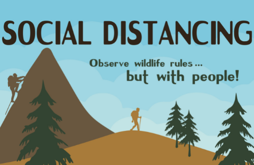 social distancing observe wildlife rules but with people