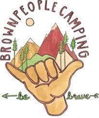 hand drawl illustration of a hand with pinkie and thumb out with mountains and the text brown people camping be brave