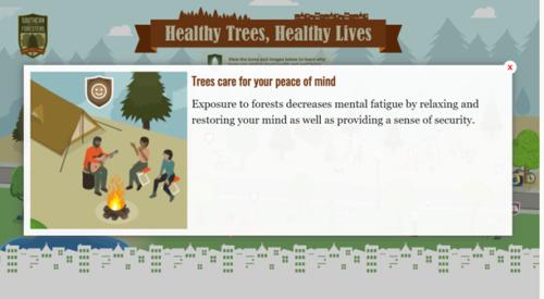 screenshot of benefits of trees interactive poster