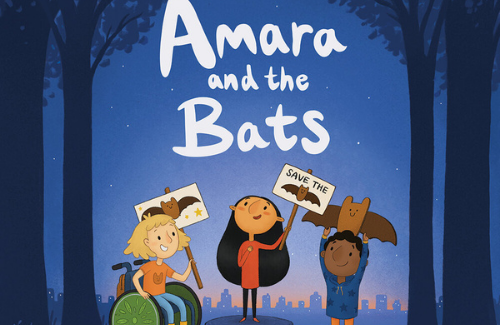 amara and the bats cover three kids holding signs with bats