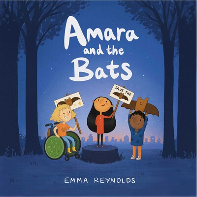 Amata and the Bats book cover illustration of three girls holding signs for save the bats